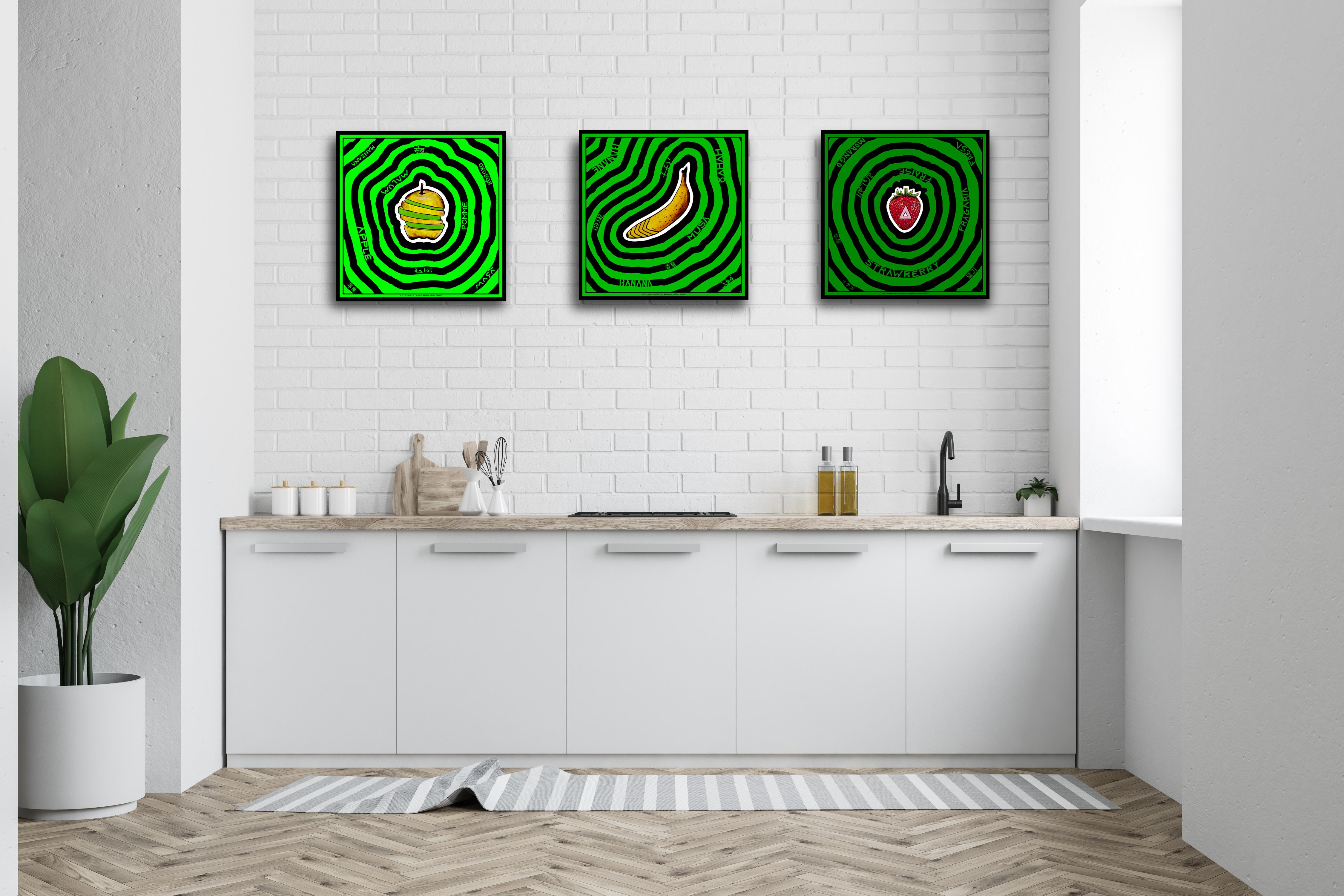 cuisine avec tableaux tryptique vert